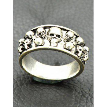 Alloy Engraved Cool Skulls Ring - SILVER SILVER