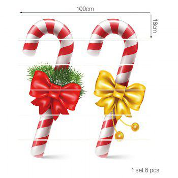 Christmas Bowknot Candy Cane Pattern Stair Stickers - COLORFUL 100*18CM*6PCS