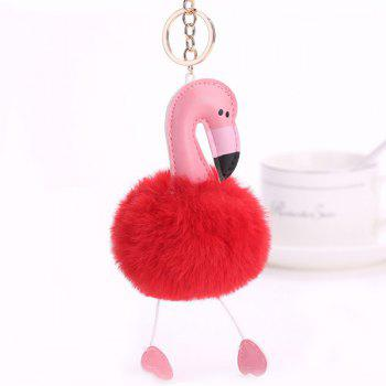 Cute Fuzzy Ball Flamingo Heart Keychain - RED RED