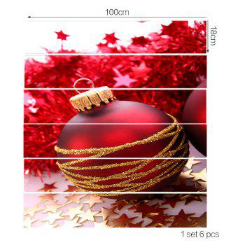 Christmas Ball Stars Pattern Stair Stickers - RED 100*18CM*6PCS