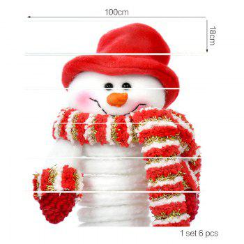 Christmas Snowman with Scarf Pattern Stair Stickers - RED 100*18CM*6PCS