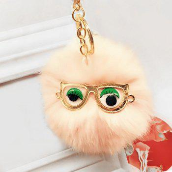 Faux Fur Glasses Eyes Ball Cute Keychain - PINK PINK
