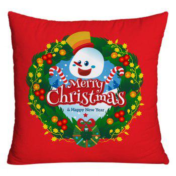 Merry Christmas Wreath Print Decorative Pillowcase - RED RED