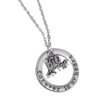 Circle Engraved Forever in Heart Family Necklace - PATTERN B