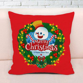 Merry Christmas Wreath Print Decorative Pillowcase - RED W17.5 INCH * L17.5 INCH