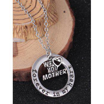 Circle Engraved Forever in Heart Family Necklace - PATTERN D PATTERN D