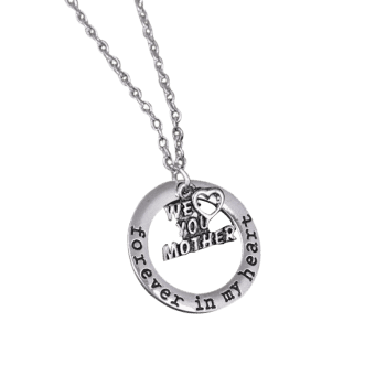 Circle Engraved Forever in Heart Family Necklace -  PATTERN D