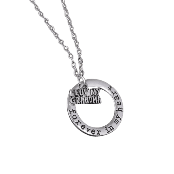 Circle Engraved Forever in Heart Family Necklace -  PATTERN E