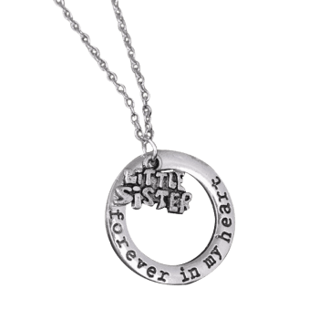 Circle Engraved Forever in Heart Family Necklace -  PATTERN F