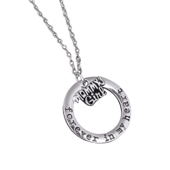 Circle Engraved Forever in Heart Family Necklace - PATTERN G