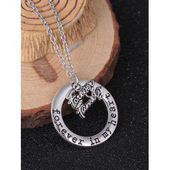 Circle Engraved Forever in Heart Family Necklace - PATTERN I PATTERN I