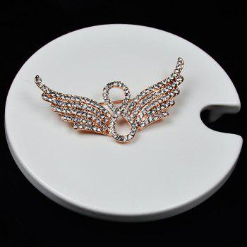 Rhinestone Angel Wings Infinite Brooch - GOLDEN
