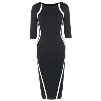 Half Sleeve Knee Length Tight Dress - BLACK WHITE BLACK WHITE