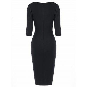 Half Sleeve Knee Length Tight Dress - BLACK WHITE S