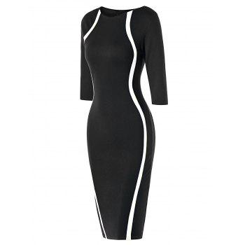 Half Sleeve Knee Length Tight Dress - BLACK WHITE M