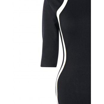 Half Sleeve Knee Length Tight Dress - BLACK WHITE L