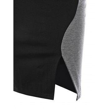 Two Tone Cap Sleeve Fitted Dress - BLACK/GREY L