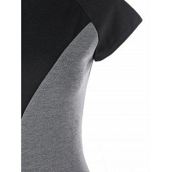 Two Tone Cap Sleeve Fitted Dress - BLACK/GREY BLACK/GREY
