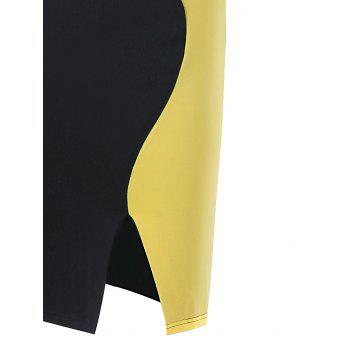 Two Tone Cap Sleeve Fitted Dress - YELLOW/BLACK S