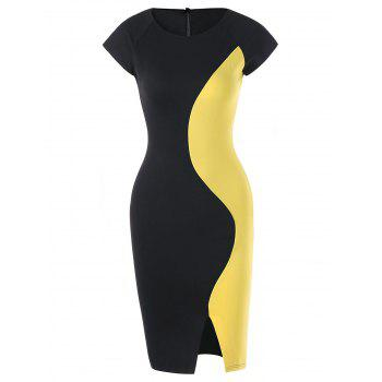 Two Tone Cap Sleeve Fitted Dress - YELLOW AND BLACK YELLOW/BLACK