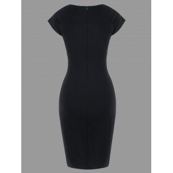Two Tone Cap Sleeve Fitted Dress - WHITE/BLACK M