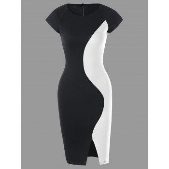 Two Tone Cap Sleeve Fitted Dress - WHITE AND BLACK WHITE/BLACK