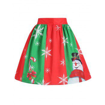 Plus Size Christmas Snowflake Snowman Skirt - RED AND GREEN RED/GREEN