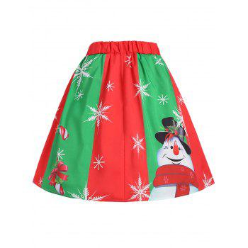 Plus Size Christmas Snowflake Snowman Skirt - RED/GREEN RED/GREEN