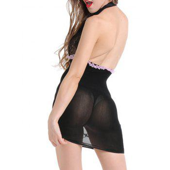 Plunge Open Back Tight Lingerie Dress - BLACK ONE SIZE