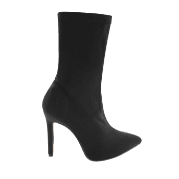 Point Toe High Heel Stretch Ankle Boots - BLACK 39