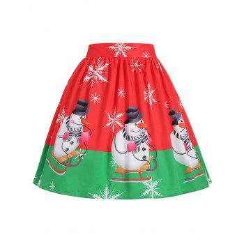 Plus Size Christmas Snowman Snowflake Skirt - RED RED