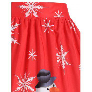 Plus Size Christmas Snowman Snowflake Skirt - RED 2XL