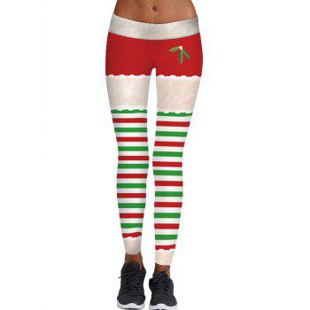 Striped Berry Print Christmas Skinny Leggings - COLORMIX COLORMIX