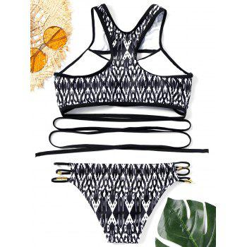Printed Racerback Cut Out Bikini Set - BLACK M
