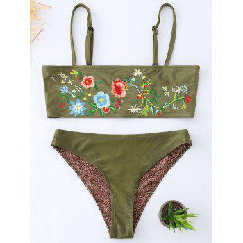 Cami Tube Floral Embroidered Bikini Set - BLACKISH GREEN BLACKISH GREEN