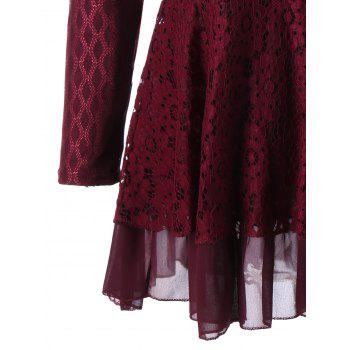 Plus Size Embellished Layered Lace Peplum Top - WINE RED 5XL