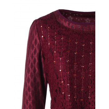 Plus Size Embellished Layered Lace Peplum Top - WINE RED 3XL