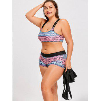 Plus Size Printed Strappy Three-Piece Swimsuit - COLORMIX XL