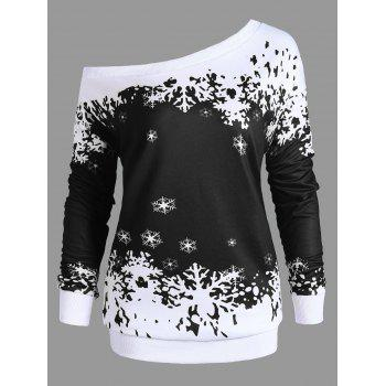 Plus Size Skew Neck Christmas Snowflake Sweatshirt