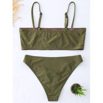Cami Tube Floral Embroidered Bikini Set - BLACKISH GREEN M