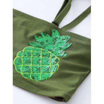 Sequined Pineapple Bandeau Bikini Set - BLACKISH GREEN M