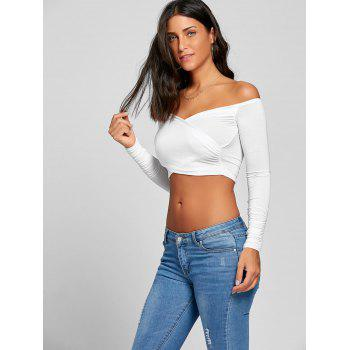 Long Sleeve Surplice Neck Crop Top - WHITE WHITE