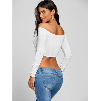 Long Sleeve Surplice Neck Crop Top - WHITE M