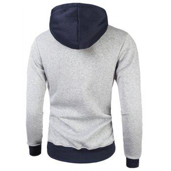 Color Block Fleece Graphic Print Pullover Hoodie - LIGHT GRAY M