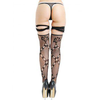 Overknee Fishnet Lace Trim Panel Stockings - BLACK ONE SIZE