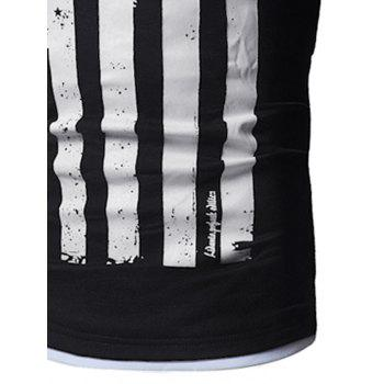 Distressed American Flag Print T-shirt - WHITE/BLACK L
