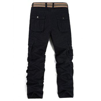 Straight Leg Pockets Design Cargo Pants - BLACK 30