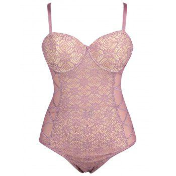 Plus Size Lace Sheer Underwire Slip Teddy - PALE PINKISH GREY PALE PINKISH GREY