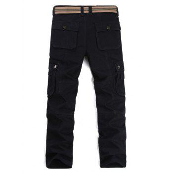 Zipper Fly Multi Pockets Cargo Pants - BLACK 34