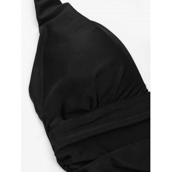 One Piece Ruched Halter Swimsuit - BLACK L